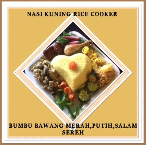 Resep Nasi Kuning Rice Cooker Bumbu Bawang Merah, Bawang Putih, Daun Salam, Sereh
