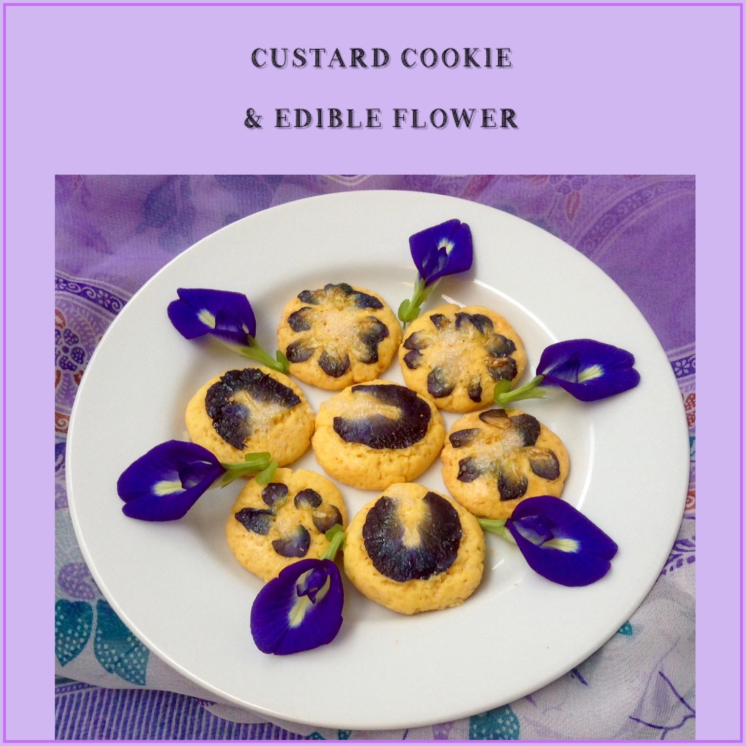 Resep Custard Cookie & Edible Flower