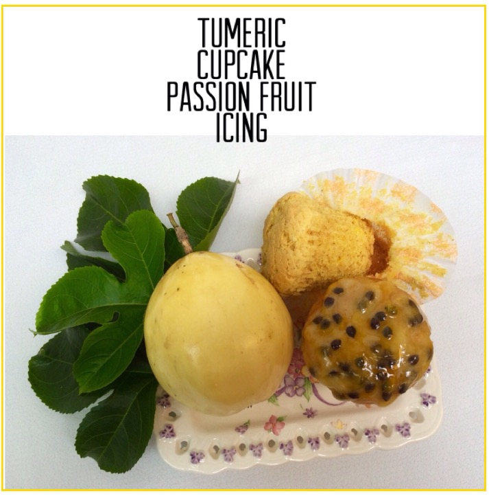 Resep Tumeric Cupcake Passion Fruit Icing.